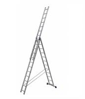 Алюминиевая трехсекционная универсальная лестница 3 х 12 ступеней купить на ТехПром