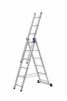 Алюминиевая трехсекционная универсальная лестница 3 х 6 ступеней купить на ТехПром