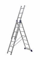 Алюминиевая трехсекционная универсальная лестница 3 х 7 ступеней купить на ТехПром