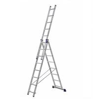 Алюминиевая трехсекционная универсальная лестница 3 х 8 ступеней купить на ТехПром