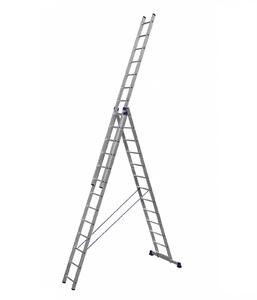 Алюминиевая трехсекционная лестница усиленная 3 х 13 ступеней (полупрофессиональная) фото 1 ТехПром