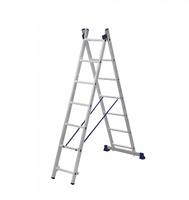 Лестница алюминиевая двухсекционная универсальная 2 х 7 ступеней купить на ТехПром