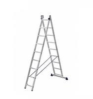 Лестница алюминиевая двухсекционная универсальная 2 х 9 ступеней купить на ТехПром