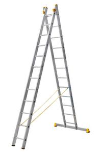 Лестница алюминиевая профессиональная двухсекционная 2 на 12 ступеней фото 1 ТехПром