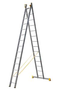 Драбина алюмінієва професійна двохсекційна 2 на 14 сходинок
