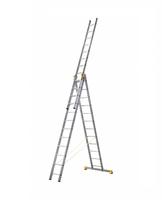 Лестница алюминиевая профессиональная трехсекционная универсальная 3 х 12 ступеней купить на ТехПром