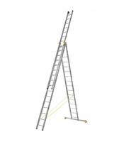 Лестница алюминиевая профессиональная трехсекционная универсальная 3 х 16 ступеней купить на ТехПром