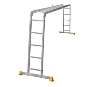 Лестница трансформер алюминиевая профессиональная четырехсекционная 2 x 4 + 2 x 5 ступеней фото 1 ТехПром
